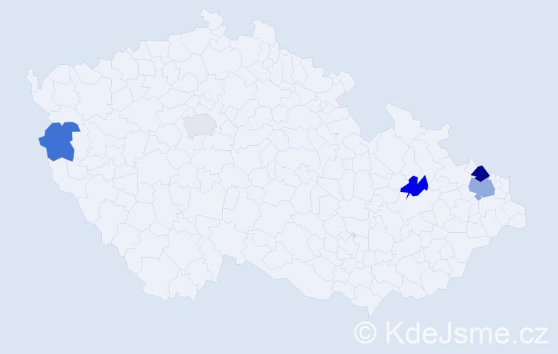 Příjmení: 'Hreško', počet výskytů 7 v celé ČR