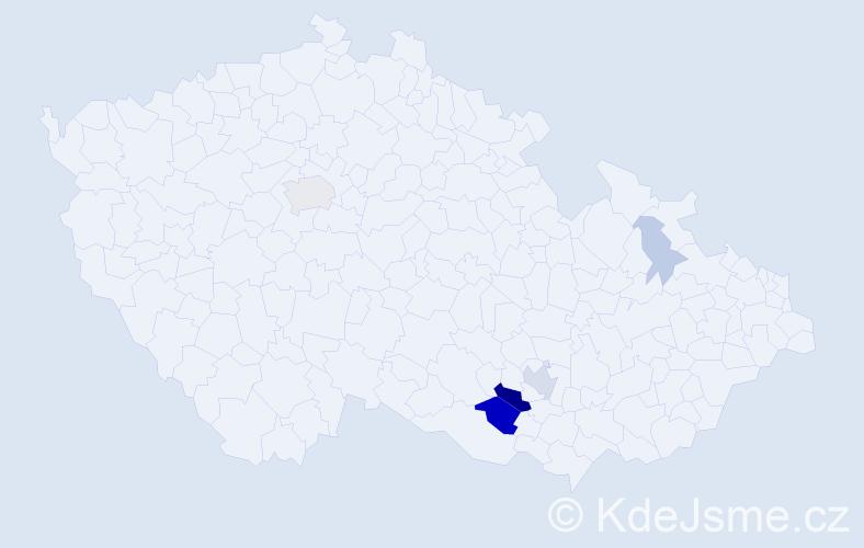 Příjmení: 'Lesonický', počet výskytů 18 v celé ČR