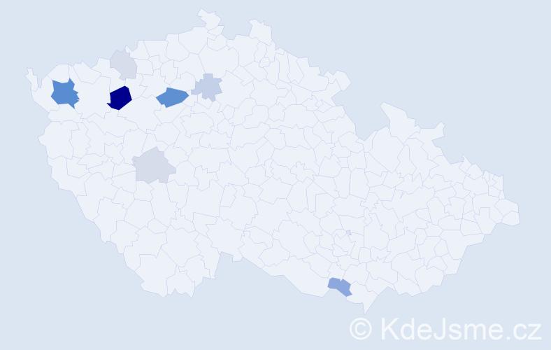 Příjmení: 'Čóková', počet výskytů 20 v celé ČR
