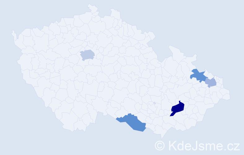 Příjmení: 'Emrichová', počet výskytů 7 v celé ČR