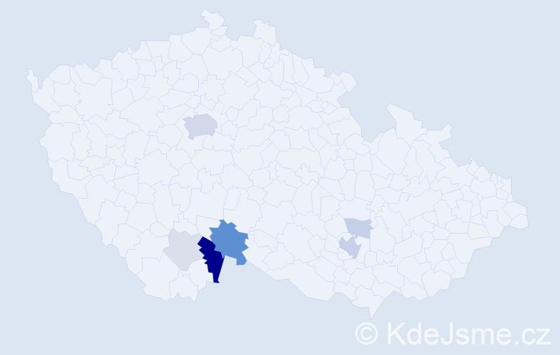 Příjmení: 'Čuchnová', počet výskytů 24 v celé ČR