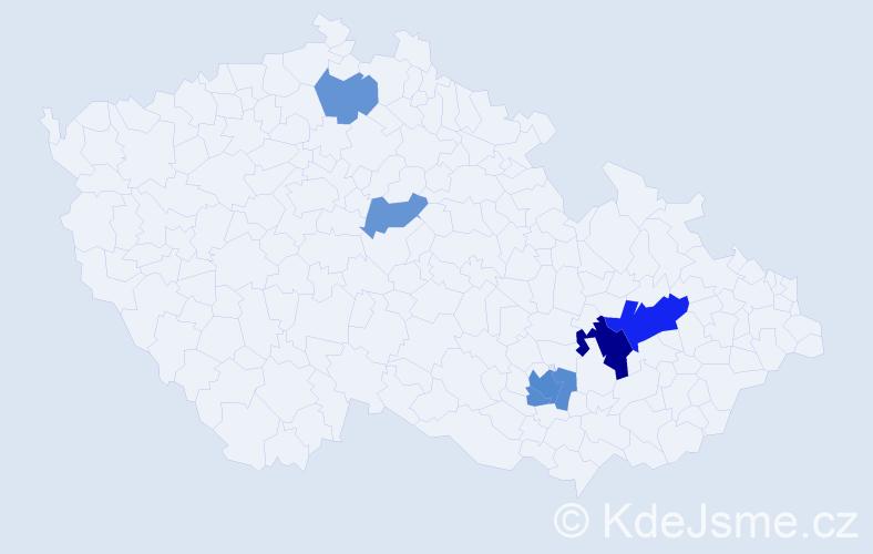 Příjmení: 'Lepil', počet výskytů 13 v celé ČR