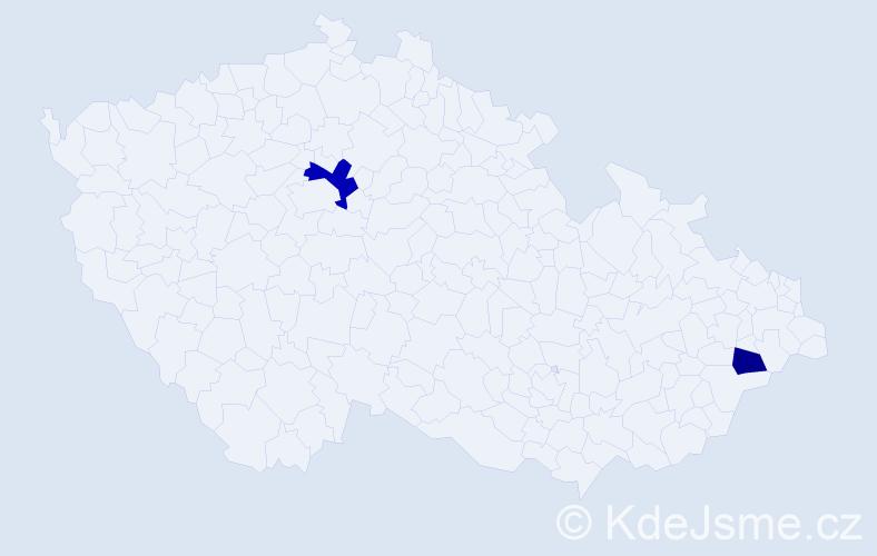 Příjmení: 'Aitken', počet výskytů 3 v celé ČR