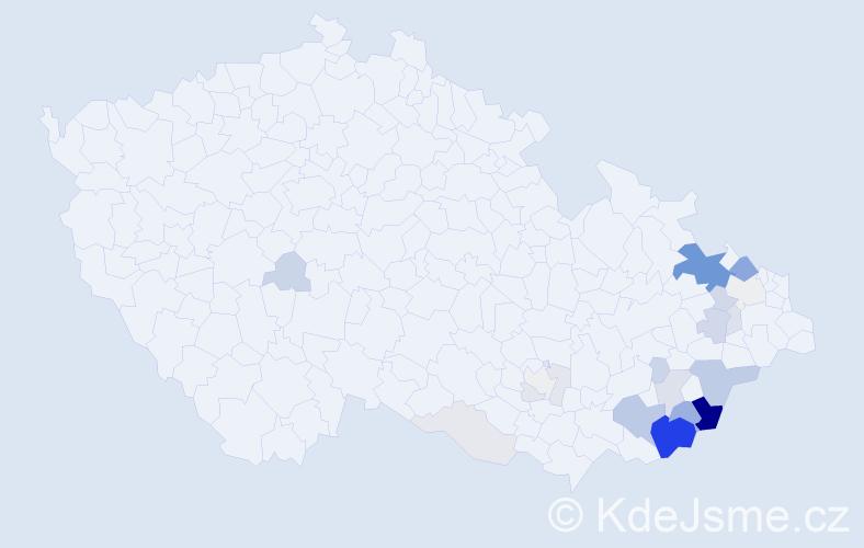 Příjmení: 'Cahlová', počet výskytů 80 v celé ČR