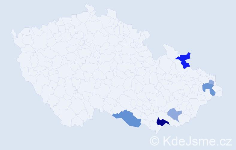 Příjmení: 'Ďurníková', počet výskytů 12 v celé ČR