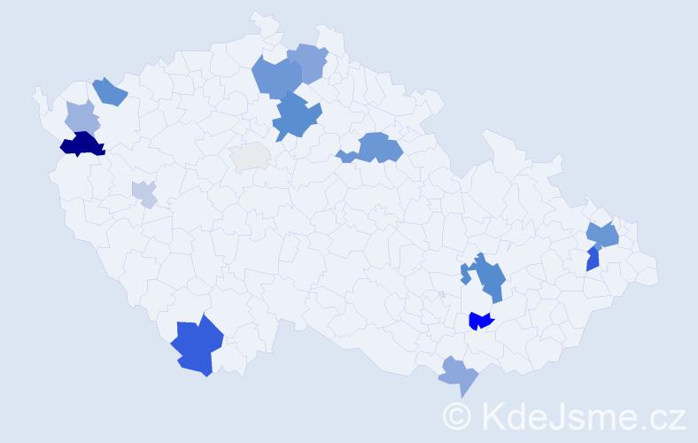 Příjmení: 'Andrejko', počet výskytů 31 v celé ČR