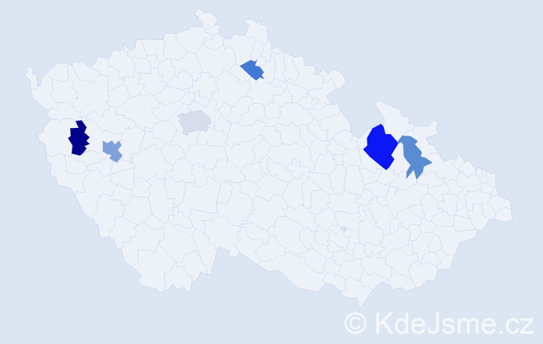 Příjmení: 'Babničová', počet výskytů 10 v celé ČR
