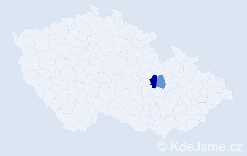 Příjmení: 'Kakiš', počet výskytů 8 v celé ČR