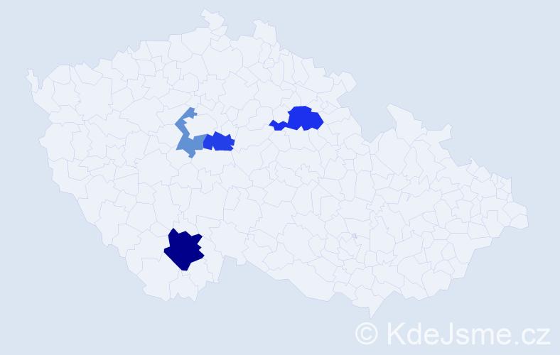 Příjmení: 'Ďupal', počet výskytů 7 v celé ČR