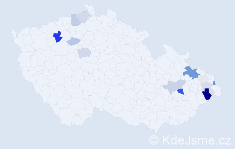 Příjmení: 'Ďurčík', počet výskytů 37 v celé ČR