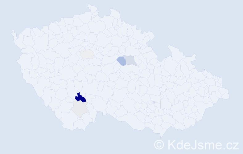 Příjmení: 'Frýd', počet výskytů 17 v celé ČR