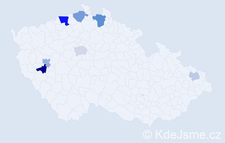 Příjmení: 'Frontzová', počet výskytů 11 v celé ČR