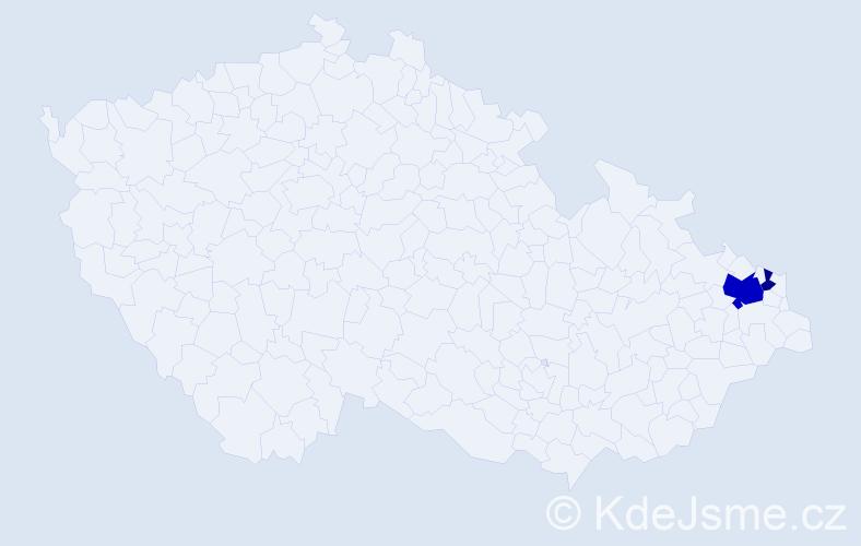 Příjmení: 'Čirová', počet výskytů 5 v celé ČR