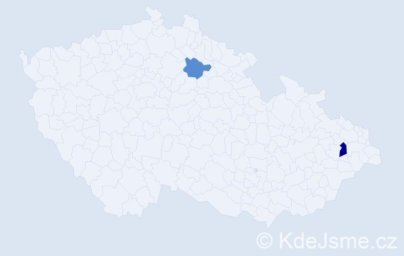 Příjmení: 'Gánoško', počet výskytů 3 v celé ČR