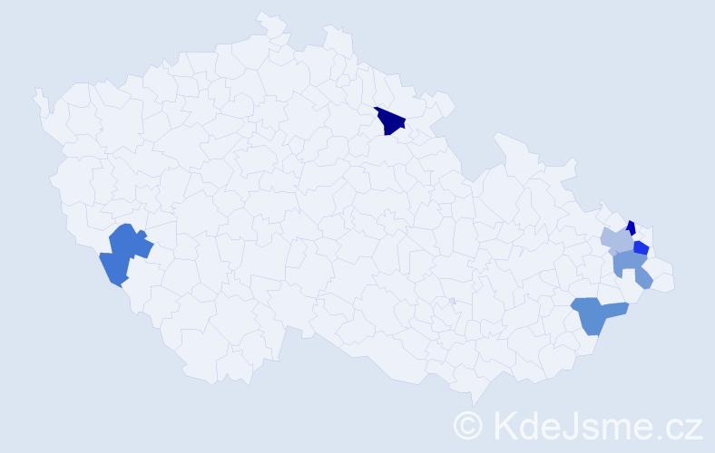 Příjmení: 'Čudejková', počet výskytů 8 v celé ČR