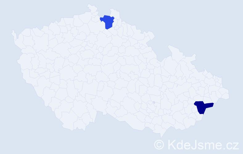 Příjmení: 'Danajovičová', počet výskytů 2 v celé ČR