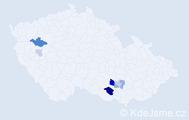 Příjmení: 'Lelko', počet výskytů 9 v celé ČR