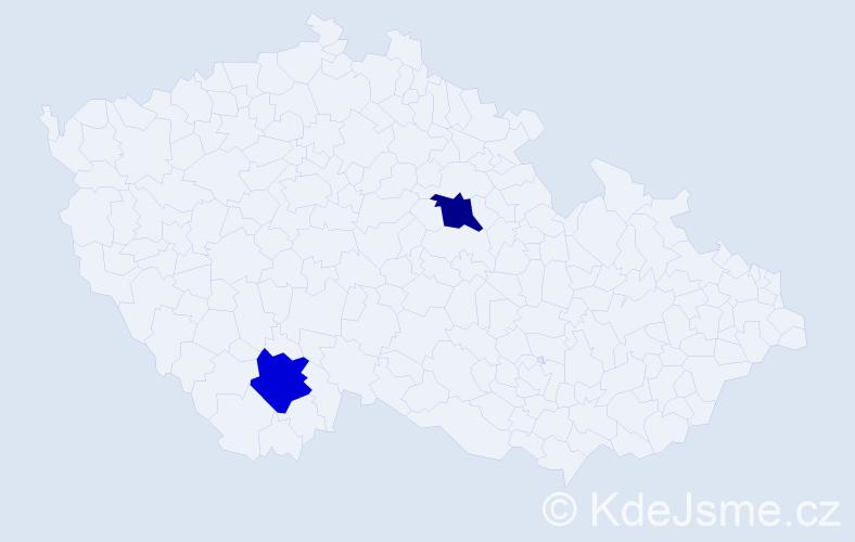 Příjmení: 'Beděrková', počet výskytů 4 v celé ČR