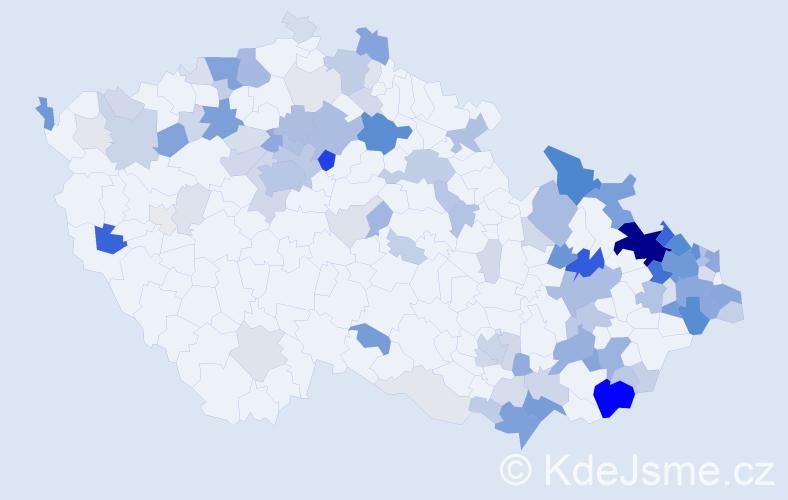 Příjmení: 'Hanke', počet výskytů 418 v celé ČR