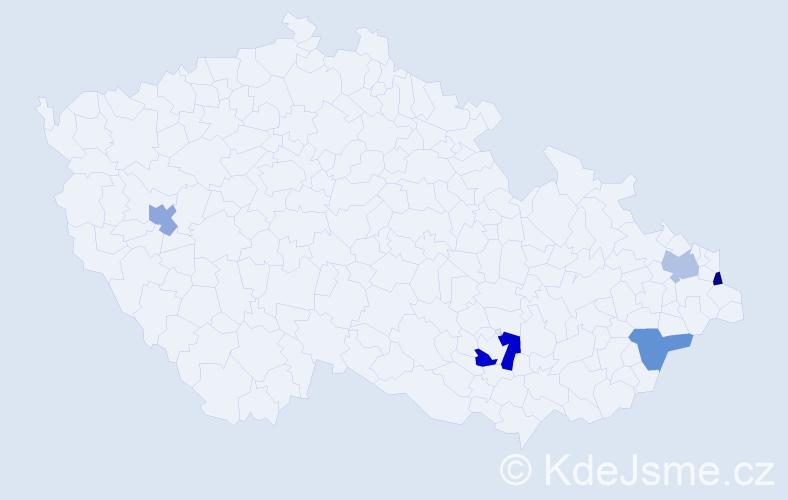 Příjmení: 'Bohdaňová', počet výskytů 6 v celé ČR
