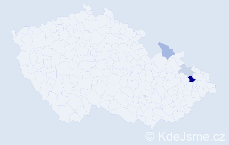Příjmení: 'Ioannu', počet výskytů 6 v celé ČR