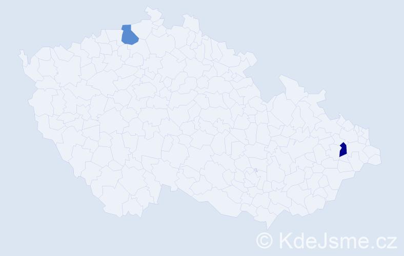 Příjmení: 'Iĺašová', počet výskytů 2 v celé ČR