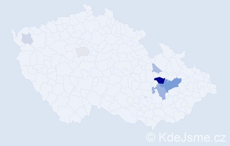 Příjmení: 'Ťuik', počet výskytů 21 v celé ČR