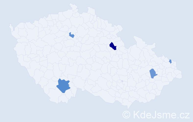 Příjmení: 'Altof', počet výskytů 9 v celé ČR