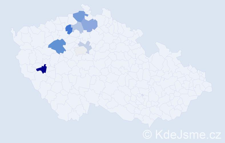 Příjmení: 'Divišovská', počet výskytů 16 v celé ČR