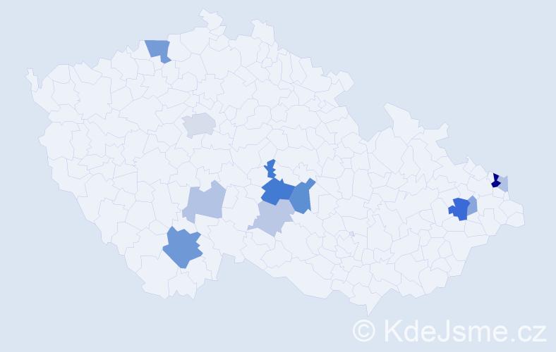 Příjmení: 'Dřínek', počet výskytů 28 v celé ČR