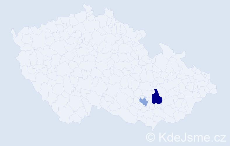 Příjmení: 'Haneček', počet výskytů 4 v celé ČR