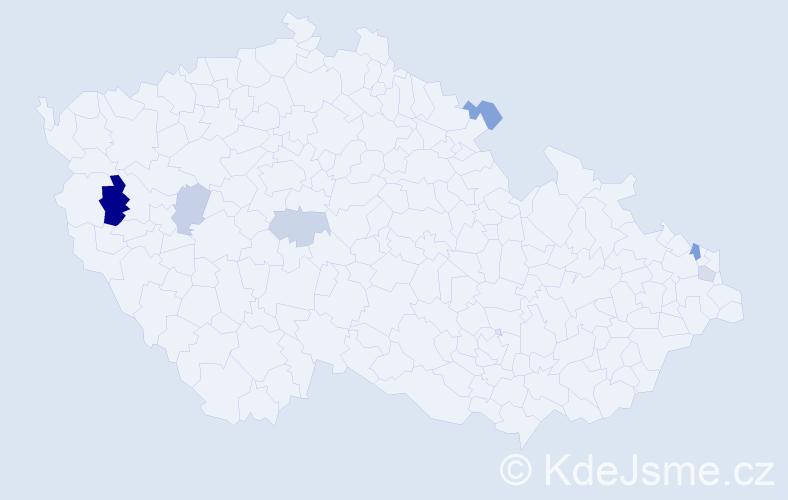 Příjmení: 'Chachula', počet výskytů 10 v celé ČR