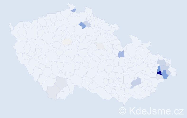 Příjmení: 'Bjaček', počet výskytů 78 v celé ČR