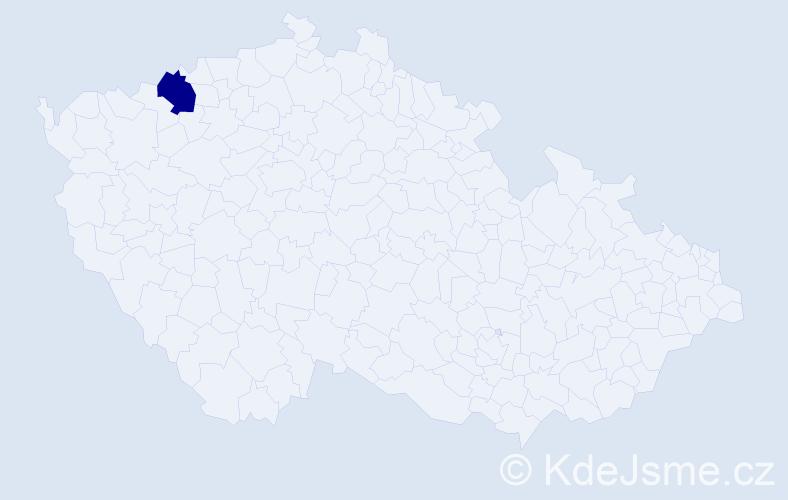 """Příjmení: '""""Kiš-Čajiová""""', počet výskytů 1 v celé ČR"""