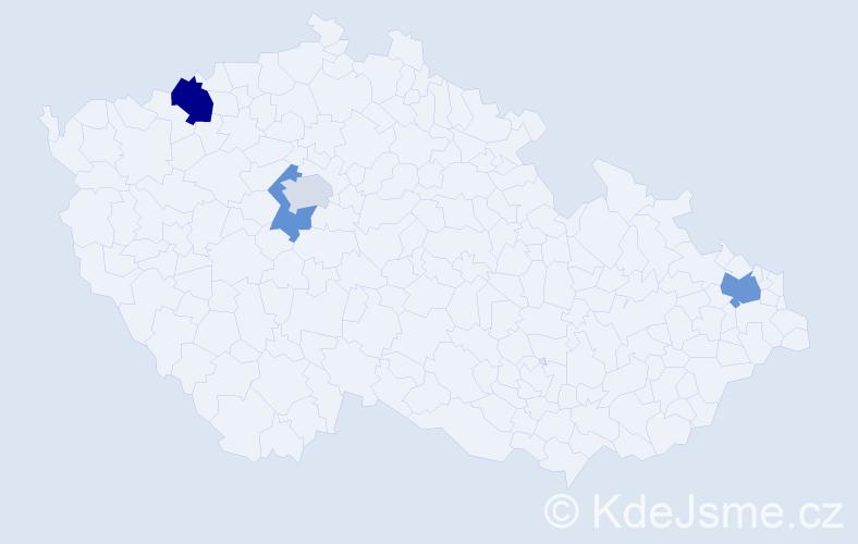Příjmení: 'Damjanovová', počet výskytů 6 v celé ČR