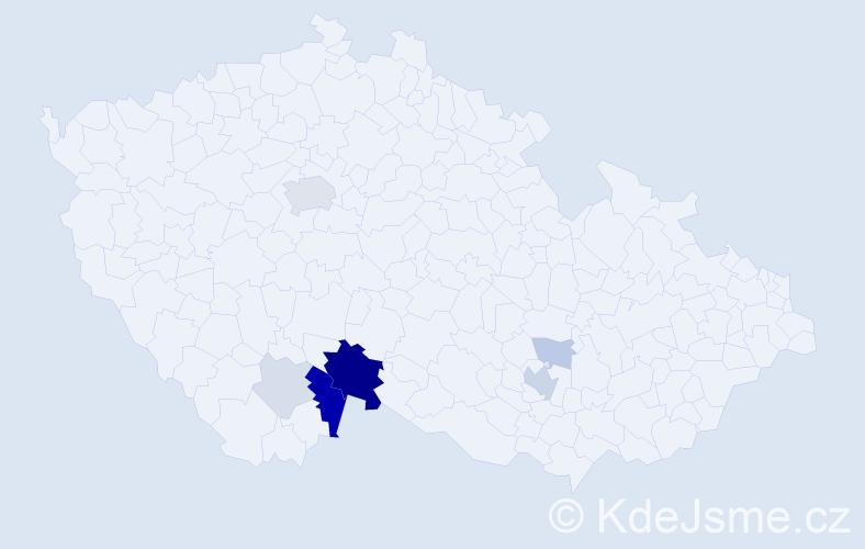 Příjmení: 'Čuchna', počet výskytů 21 v celé ČR