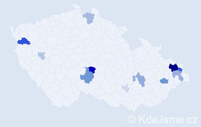 Příjmení: 'Jagla', počet výskytů 25 v celé ČR
