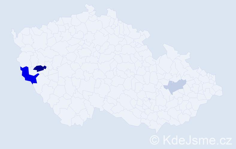 Příjmení: 'Gellanová', počet výskytů 6 v celé ČR