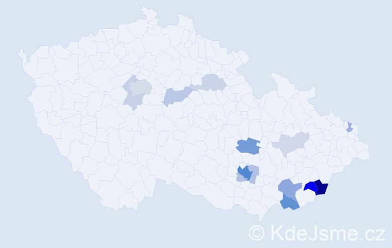 Příjmení: 'Habanec', počet výskytů 36 v celé ČR