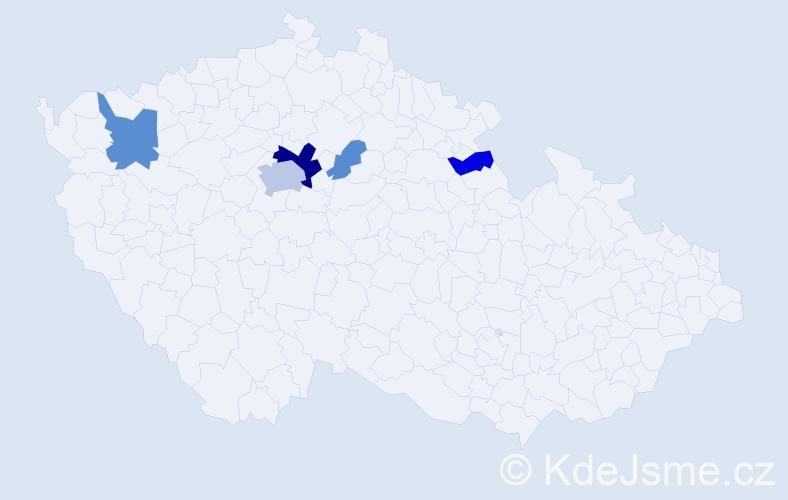 Příjmení: 'Joo', počet výskytů 26 v celé ČR
