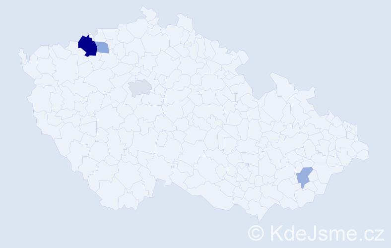 Příjmení: 'Elexová', počet výskytů 9 v celé ČR