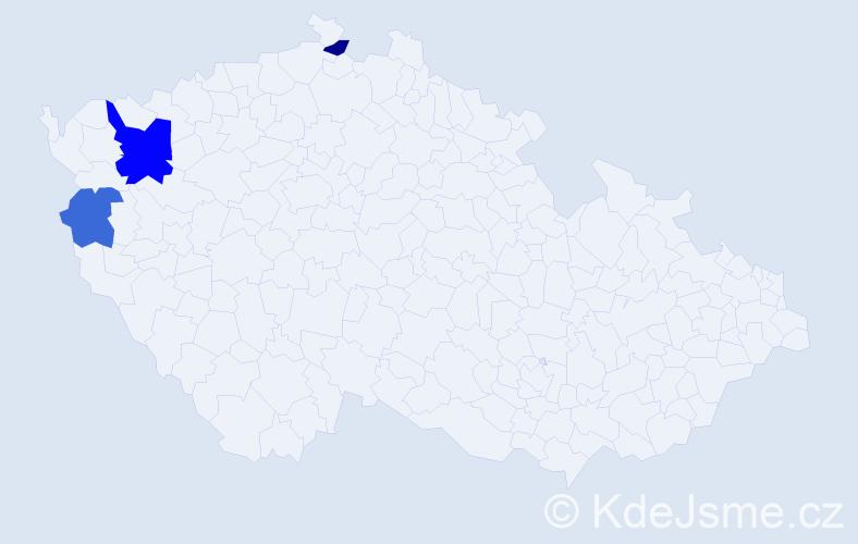 Příjmení: 'Ďugelová', počet výskytů 5 v celé ČR