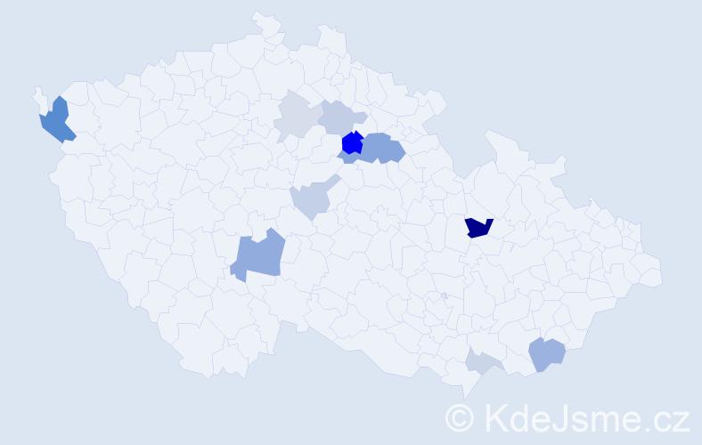 Příjmení: 'Apoštol', počet výskytů 26 v celé ČR