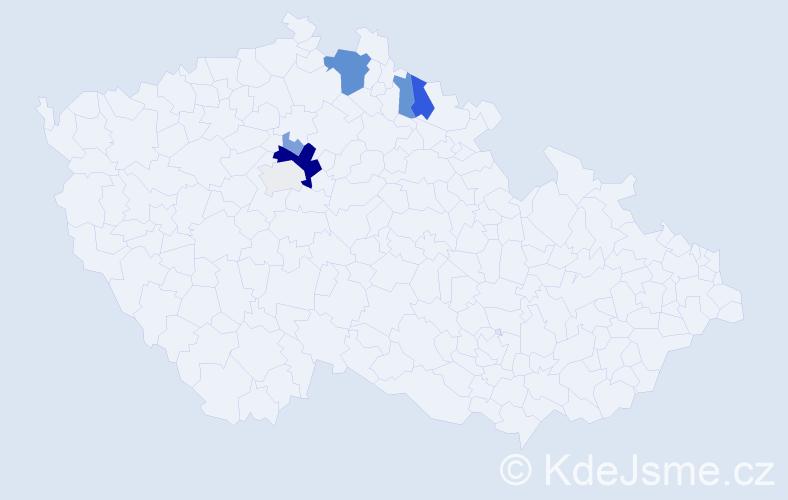 Příjmení: 'Fantíková', počet výskytů 19 v celé ČR