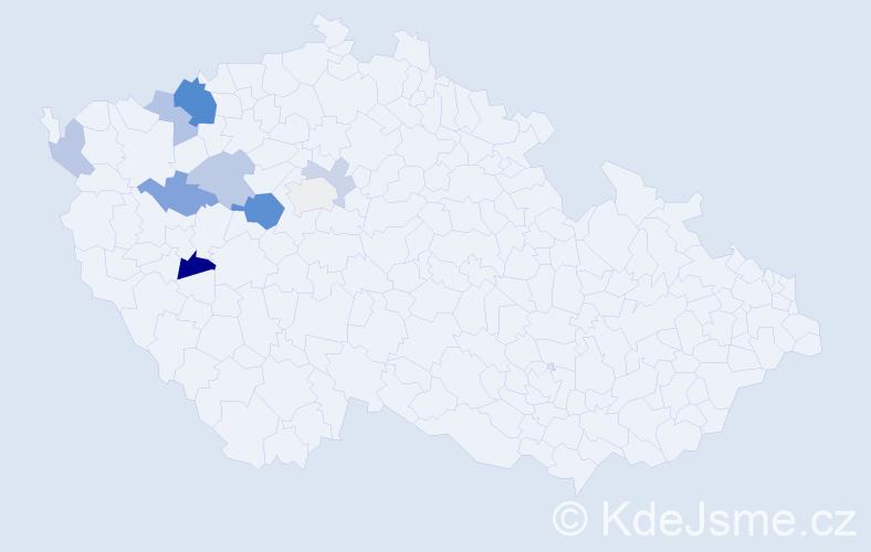 Příjmení: 'Lajtnerová', počet výskytů 18 v celé ČR