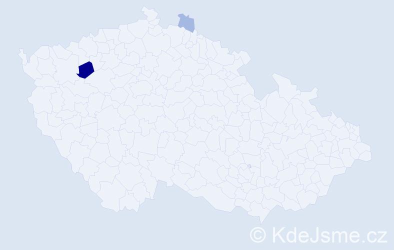 Příjmení: 'Jesinek', počet výskytů 5 v celé ČR