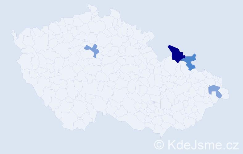 Příjmení: 'Cicoň', počet výskytů 5 v celé ČR