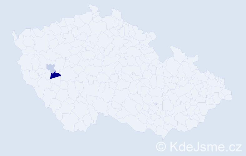 Příjmení: 'Fehirpataky', počet výskytů 2 v celé ČR