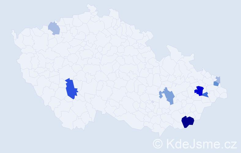 Příjmení: 'Jachníková', počet výskytů 20 v celé ČR