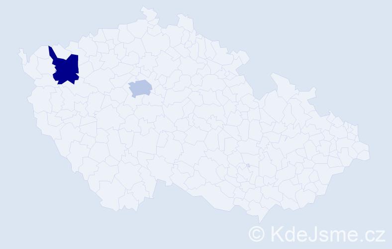 Příjmení: 'Dér', počet výskytů 2 v celé ČR